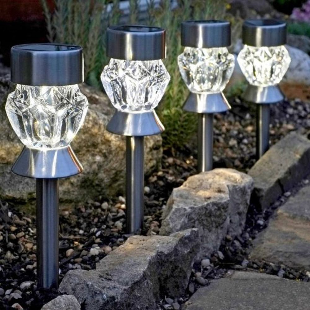 Crystal Glass Stainless Steel  Stake Light